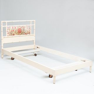 Pair of Painted Faux Bamboo and Upholstered Twin Beds with Fabric Accesories