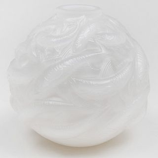 Lalique Glass Vase Molded with Fish