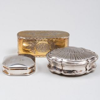 English Silver-Gilt Snuff Box and a French Silver Snuff Box