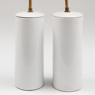 Pair of Cylindrical White Glazed Porcelain Vases Mounted as Lamps