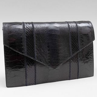Yves Saint Laurent Haute Couture Black Textured Leather Clutch