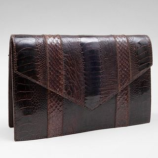 Yves Saint Laurent Haute Couture Brown Textured Leather Clutch