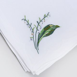 Set of Table Linens Embroidered with Lily of the Valley