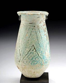 Egyptian Faience Kohl Vessel - Blue Lotus Form