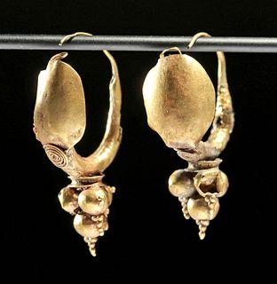 Roman Imperial 15K+ Gold Earrings (pr)