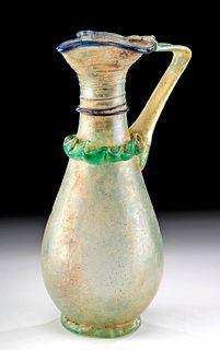 Tall Roman Glass Oinochoe w/ Trailing