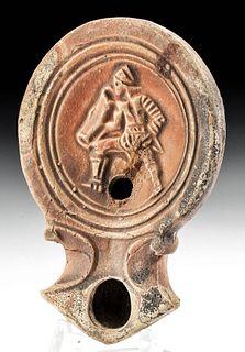 Roman Terracotta Oil Lamp w/ Gladiator