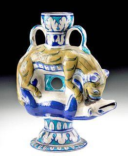 19th C. Indian Mughal Multan Glazed Vessel Animals