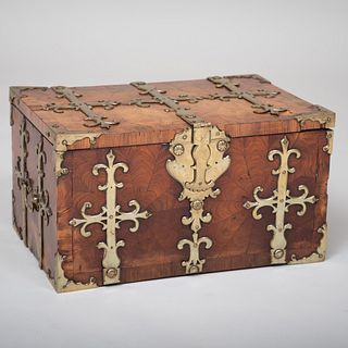 Fine Louis XIV Brass-Mounted Tulipwood Parquetry Coffret