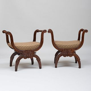 Pair of Fine Charles X Rosewood Tabourets, Stamped Jeanselme
