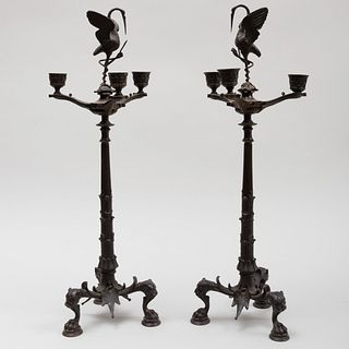 Pair of Italian Bronze Three-Light Candelabra, After the Antique