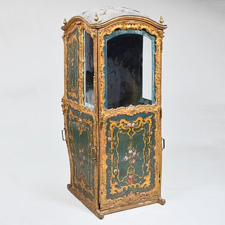 French Painted and Parcel-Gilt Sedan Chair