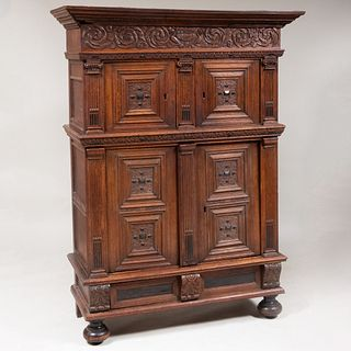Dutch Renaissance Carved Oak and Ebony Kass