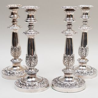 Set of Four Silver Plate Candlesticks