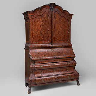 Dutch Rococo Mahogany and Fruitwood 'Seaweed' Marquetry Slant-Front Bookcase