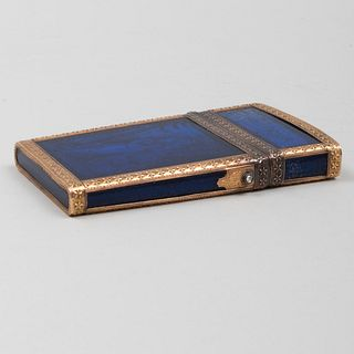 French Gold-Mounted Blue Glass and Enamel 'Aide Memoire'