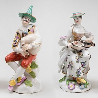Assembled Pair of Meissen Porcelain Figures of Harlequin and Columbine