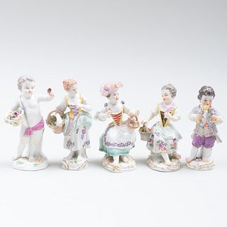 Group of Five Meissen Figures with Baskets and Flowers