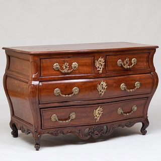 Early Louis XV Style Provincial Brass-Mounted Mahogany Commode