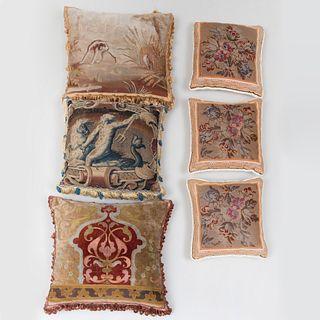 Group of Six Needlework Pillows