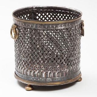 French Steel and Brass Woven Cylindrical Basket