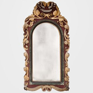 English Baroque Style Painted and Parcel-Gilt Mirror