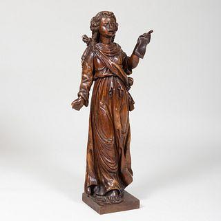 Italian Carved Walnut Figure of Sybil