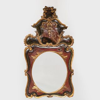 Spanish Baroque Style Painted and Parcel-Gilt Mirror