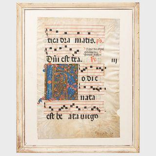 Four Spanish Choir Book Leaves on Vellum