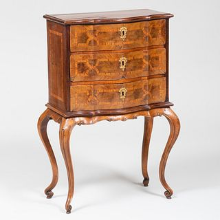 Small Austrian Rococo Walnut and Tulipwood Parquetry Chest of Drawers, Possibly North Italian