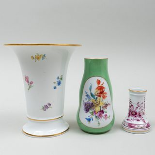 Group of Three Meissen Vases