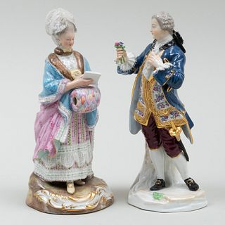 Meissen Porcelain Figure of a Gentleman in a Blue Coat and a Lady with a Muff