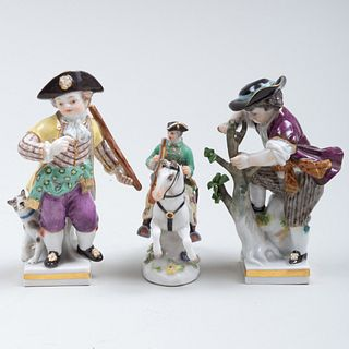 Meissen Porcelain Miniature Equestrian Figure and Two Figures of Boys