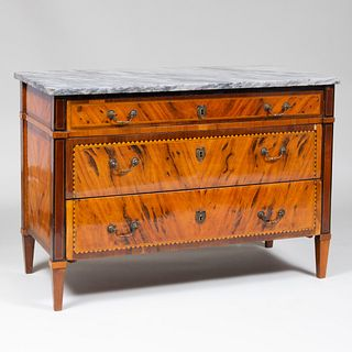 Italian Neoclassical Inlaid Olivewood Chest of Drawers