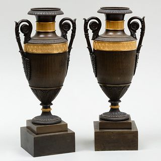Pair of Late Empire Ormolu and Bronze Urns