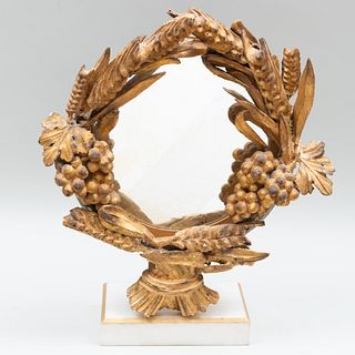 Looking Glass Mounted with Baroque Style Giltwood Wreath
