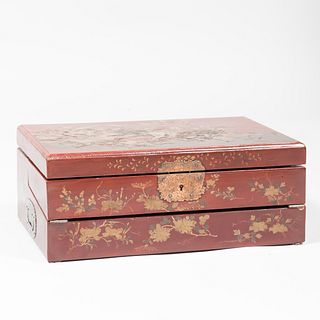 Japanese Red Lacquer Lap Desk