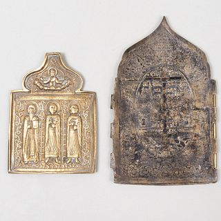Two Russian Brass and Enamel Icons