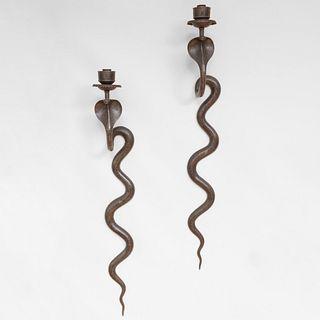 Pair of Napoleon III Metal Serpent Sconces