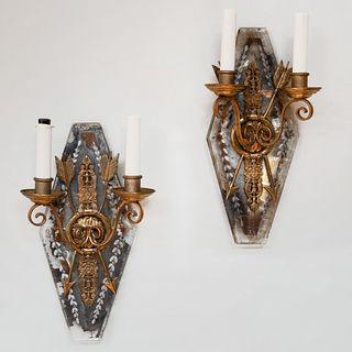 Pair of Empire Style Ormolu-Mounted Etched Glass Two-Light Sconces