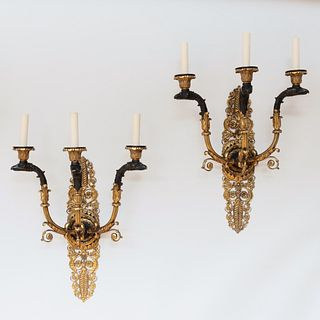 Pair of Empire Style Ormolu and Patinated-Bronze Three-Light Sconces