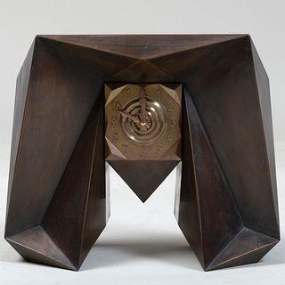 Josef Gocár Brass and Metal Mantle Clock for Modernista