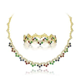 Emerald Sapphire Ruby and Diamond Necklace and Bracelet Set, French