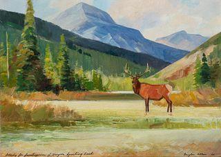 Douglas Allen (b. 1935): Elk – Study for Frontispiece of Harper Sporting Book (1966)