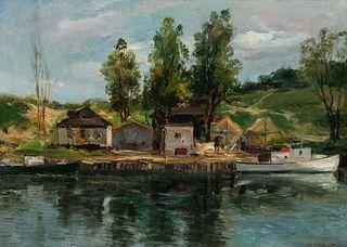 Charles Paul Gruppe (1860–1940): Fishing Shacks along the Shoreline
