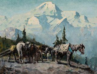 Eustace Paul Ziegler (1881–1969): Packhorses and Mt. McKinley (1963)