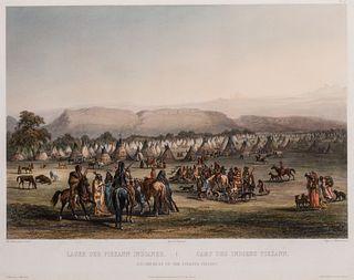 Karl Bodmer (1809–1893): Tableau 43: Encampment of the Piekann Indians