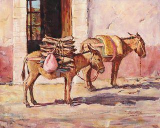 Tom Hill (b. 1925): Two Burros