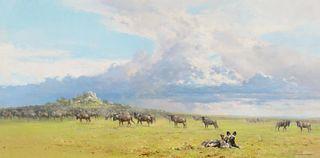 David Shepherd (1931–2017): Serengeti Skies (1977)