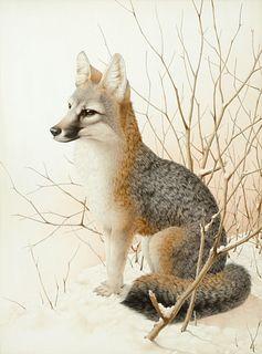 Moricz Karl (20th C.): Fox in Snow